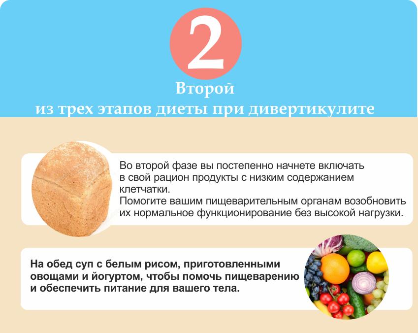 вторая диета при дивертикулите